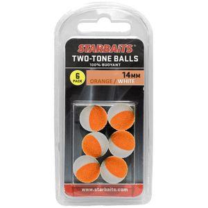 Starbaits plávajúce guličky two tones balls 6 ks - 14 mm oranžová biela