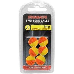 Starbaits plávajúce guličky two tones balls 6 ks - 14 mm oranžová žltá
