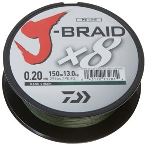 Daiwa Pletená šňůra J-BRAID X8 150m 0,16mm 9,0kg Dark Green