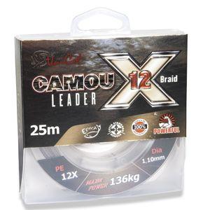 Uni cat náväzcová šnúra camou x-12 leader 25 m - 0,7 mm 74 kg